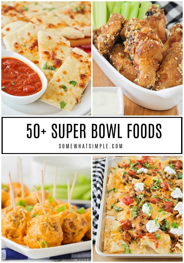 Whether you're hosting a party, attending a party, or quietly watching the game at home, you'll find all the Superbowl food recipes you need to make this year's big game fantastic! #superbowlfood #superbowlfoodideas #superbowlfingerfood #superbowlappetizers #superbowl #superbowlsnacks #superbowlpartyfood