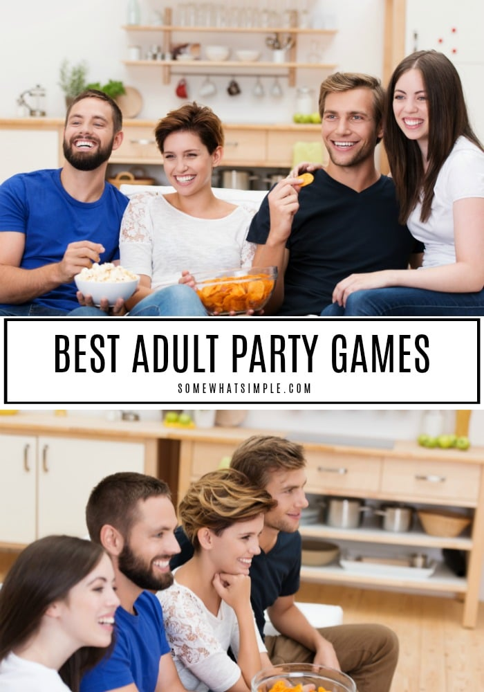 Whether you're playing with just a few friends or a huge crowd of couples, these adult party games are sure to entertain! #gamenight #partyideas #games #fun #boardgames via @somewhatsimple