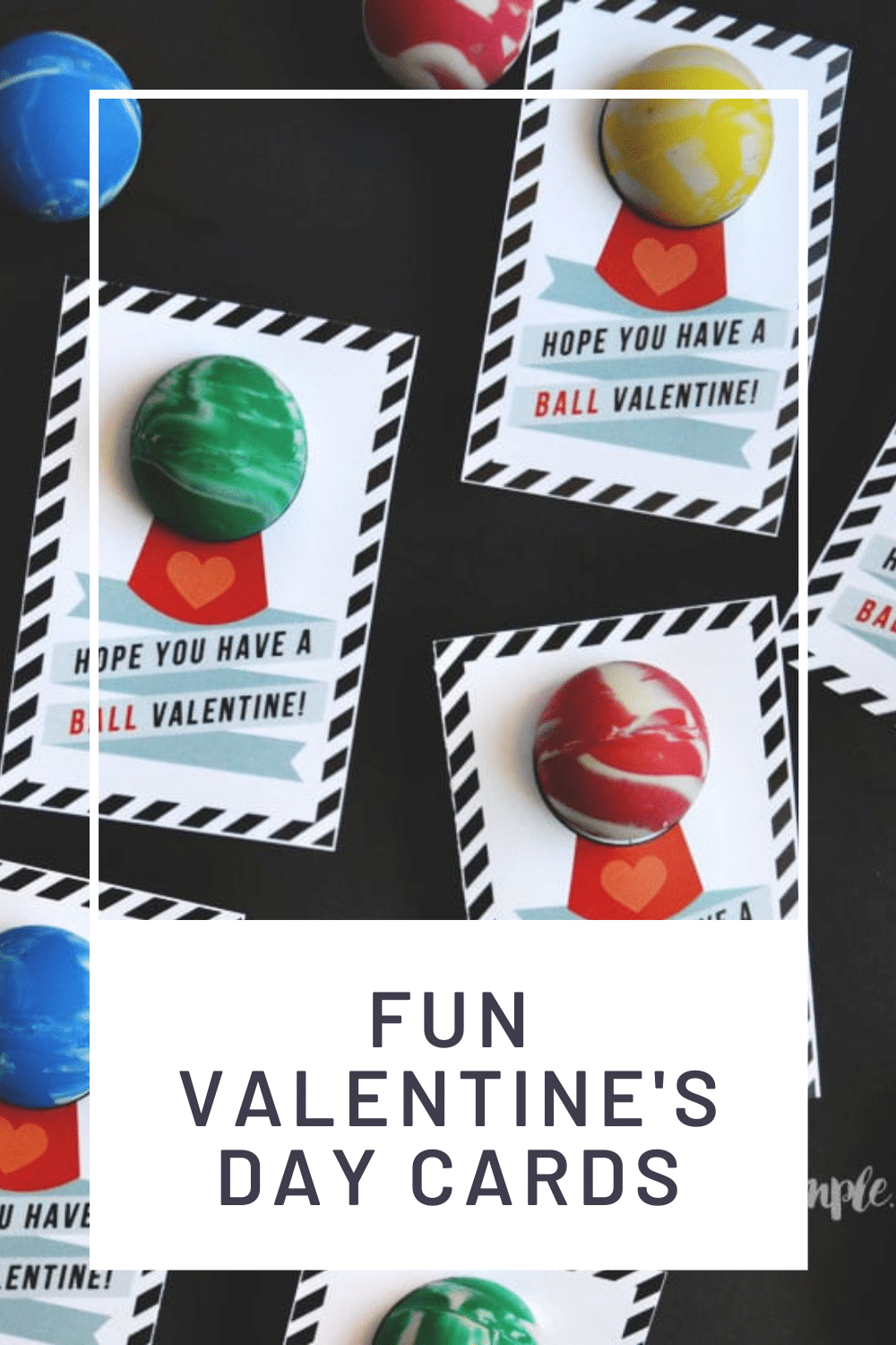 If simple, inexpensive, easy, and totally cute are on your checklist for school valentines this year, then start dancing, because these bouncy ball valentines meet all those requirements! They're perfect to throw together at the last minute too! via @somewhatsimple