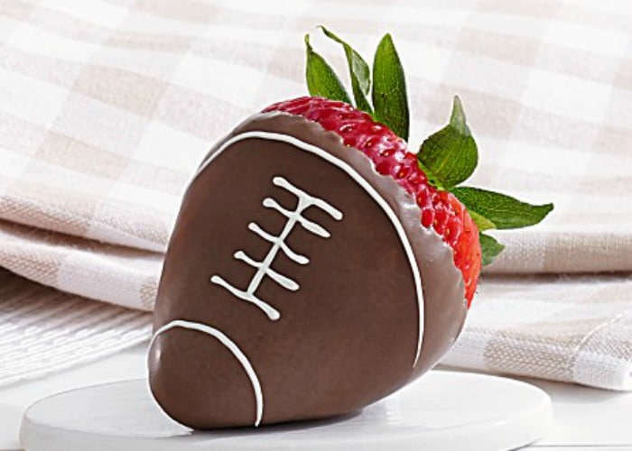 chocolate covered strawberries shaped like a football for the Super Bowl