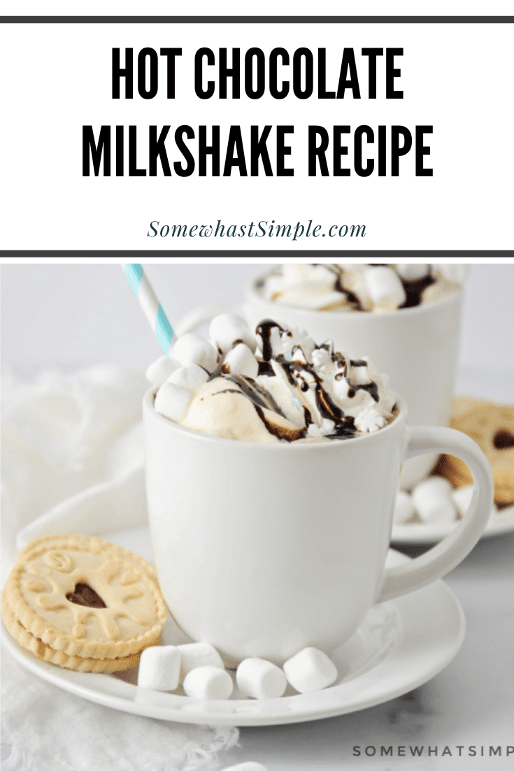 This Hot Chocolate Milkshake just might change the way you make this delicious drink forever! The hot chocolate mixed with a scoop of ice cream makes it extra creamy and extra tasty! It really is the perfect winter drink recipe! via @somewhatsimple