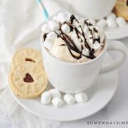 how chocolate milkshake in white mug