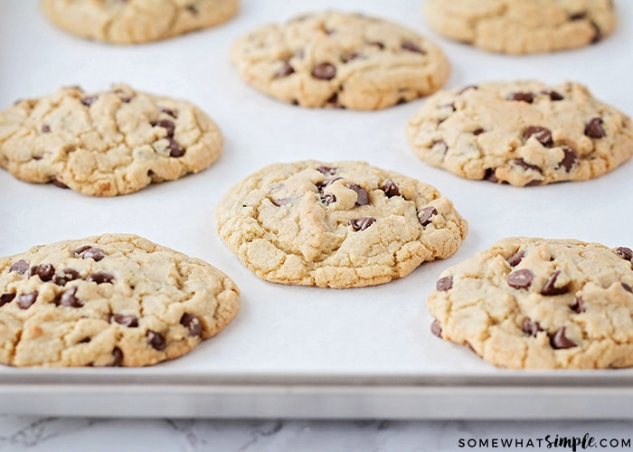 Big Fat Chewy Chocolate Chip Cookies cooked on a baking sheet