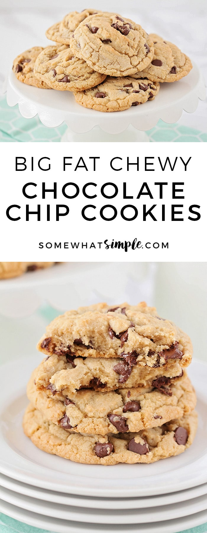 These chewy chocolate chip cookies are thick, soft and jam packed with chocolate chips! They are big and delicious and super simple to make!