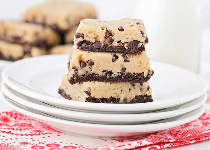 These cookie dough brownies are so rich and decadent! A fudgy chocolate brownie layer topped with eggless cookie dough, for an unforgettable dessert!