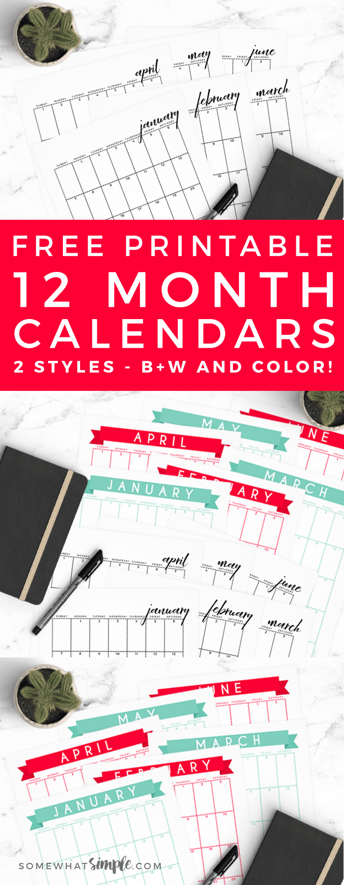 Time to start the new year with a fresh start and new calendar! Our free 2018 calendar template has a simple design that fits perfectly in a notebook, so you can start off the new year fashionably organized!