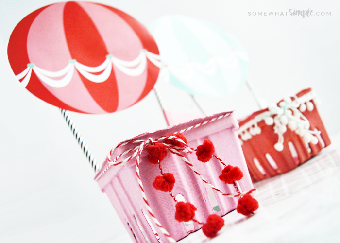Easy Hot Air Balloon Valentine Boxes + Printables
