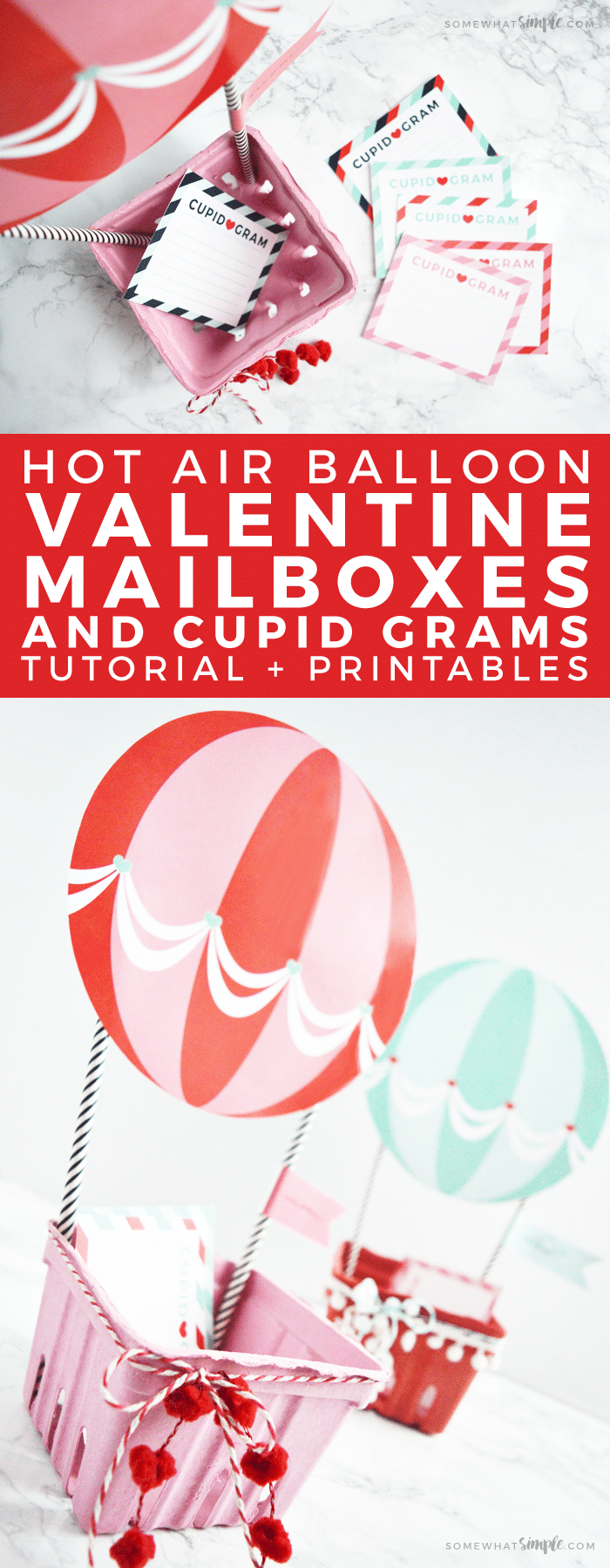 Want to make Valentine Boxes this year that are insanely darling, but super easy and quick to put together? Then you have to check out this adorable Hot Air BalloonValentine Box idea!