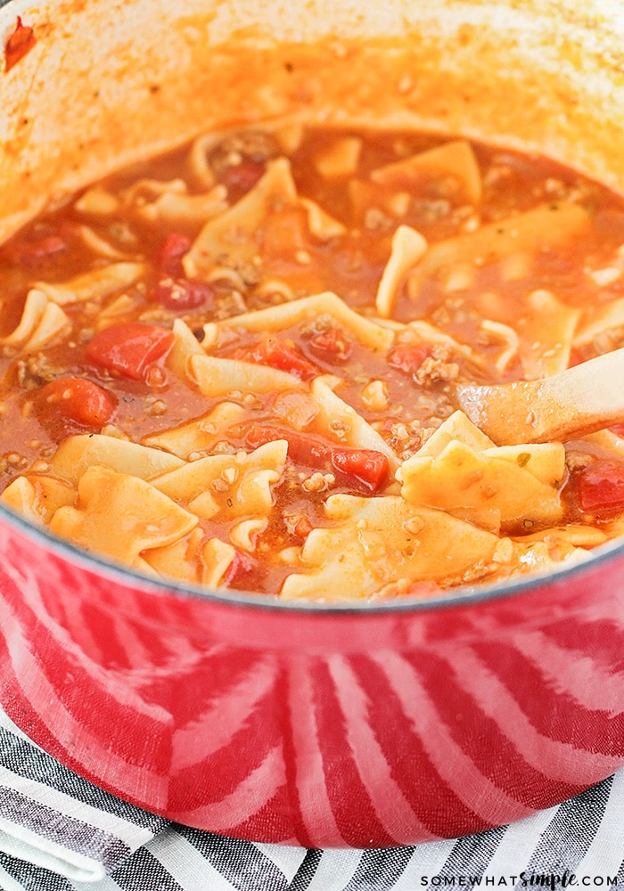 This savory lasagna soup is simple and easy to make, and tastes just like lasagna! It's the perfect hearty soup for a cold night!