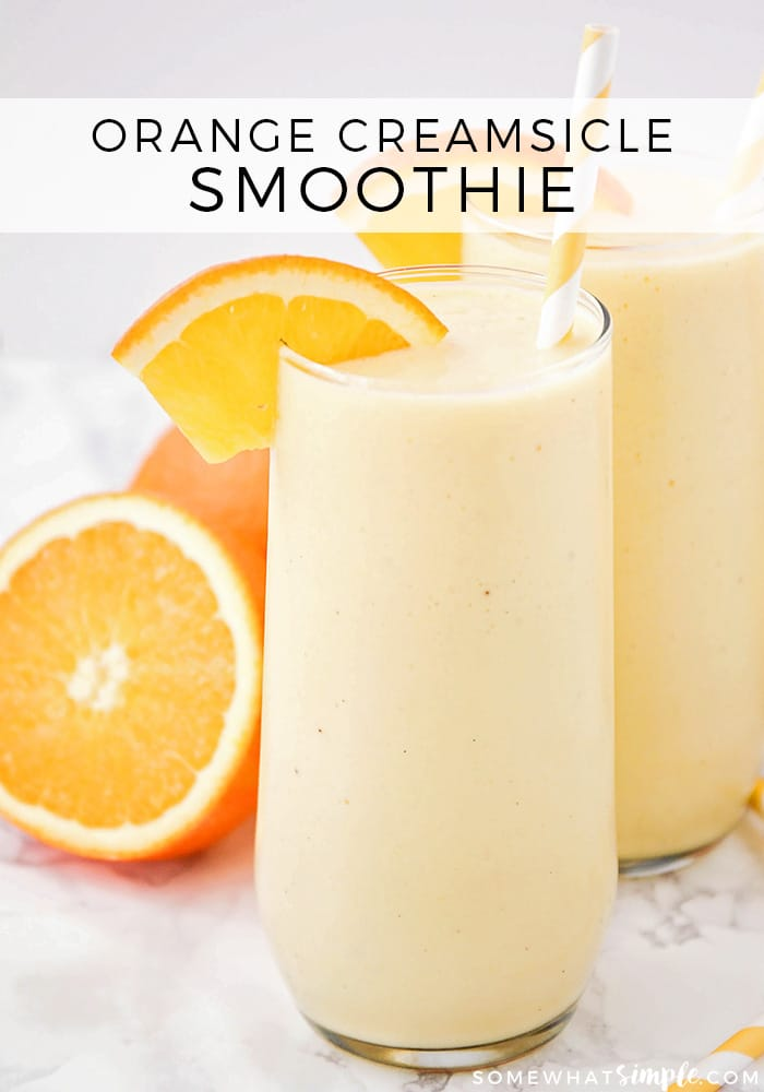 This sweet and refreshing orange creamsicle smoothie is perfect for an easy breakfast or afternoon snack! Filled with pineapple and yogurt, it's a healthy and flavorful way to enjoy your favorite frozen creamsicle drink! via @somewhatsimple
