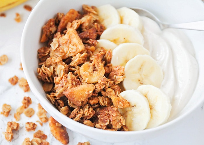 This homemade peanut butter banana granola is so delicious, and healthy too! It's perfect for a quick snack or a tasty breakfast!