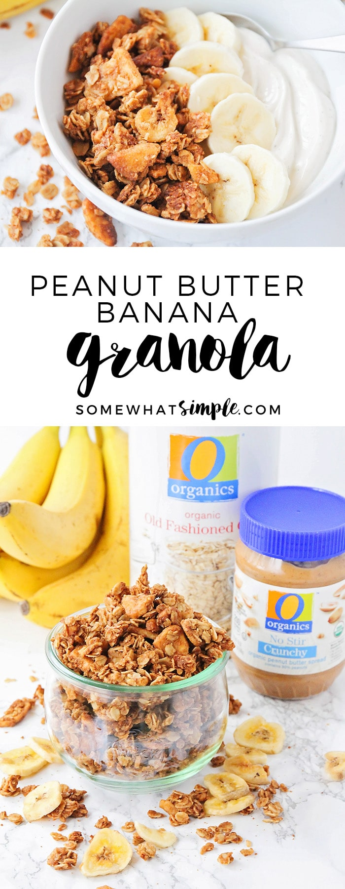 This homemade peanut butter banana granola is so delicious, and healthy too! It's perfect for a quick snack or a tasty breakfast! via @somewhatsimple