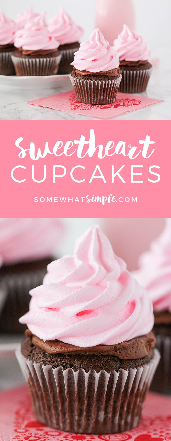 These delicious little sweetheart cupcakes start with one of my new favorite treats - pink meringue cookies.  They're super easy to make and are fun way to top off your cupcakes.