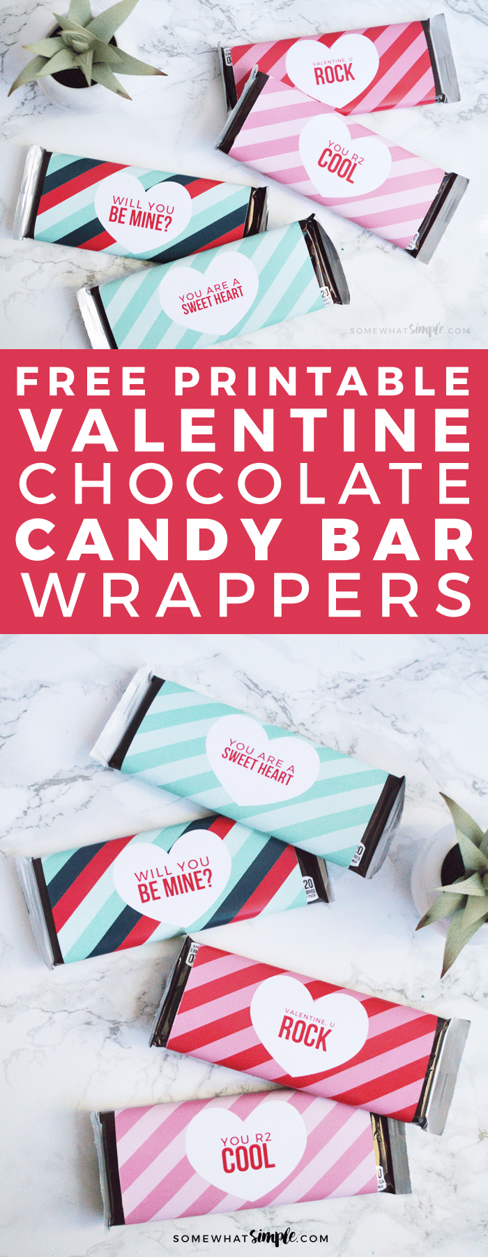 These Valentine candy bar wrappers make a simple gift that you can make in just minutes!  All you need is a box of Hershey candy bars and to download this adorable printable and you're all set!