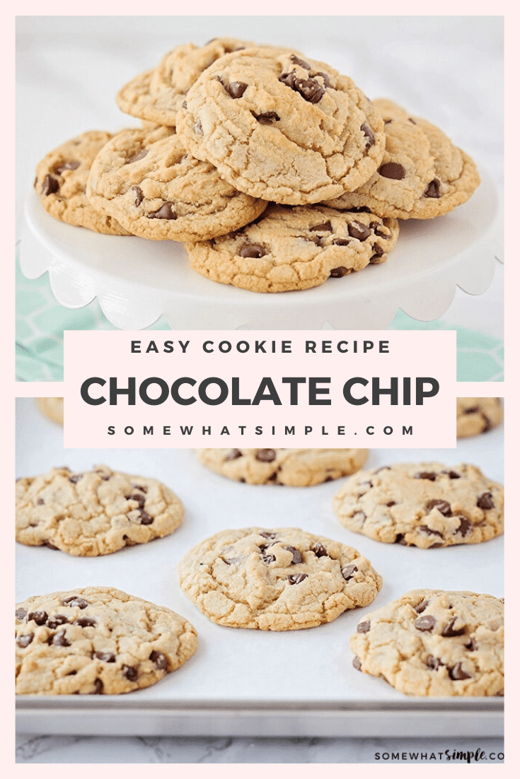 These chewy chocolate chip cookies are thick, soft and jam packed with chocolate chips! They are big and delicious and super simple to make! #chewychocolatechipcookies #softchocolatechipcookies #bestchocolatechipcookies #easychocolatechipcookierecipe #chocolatechipcookies via @somewhatsimple