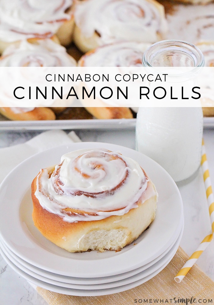 These homemade cinnamon rolls are soft, fluffy and topped with the most amazing cream cheese frosting you'll ever taste.  This easy cinnamon roll recipe is impossible to mess up so they'll turn out perfectly every time! #homemadecinnamonrolls #bestcinnamonrollsrecipe #easycinnamonrolls #howtomakecinnamonrolls #cinnamonrolls #cinnamonrollsrecipe via @somewhatsimple