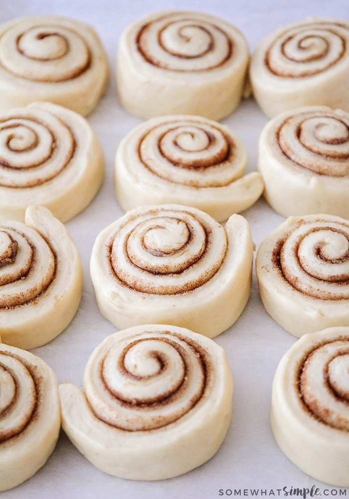 raw cinnamon rolls that have been cut and laid out on a baking sheet that are ready to go in the oven