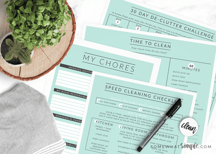 4 cleaning printables on the counter with a pen, a rag, and a plant