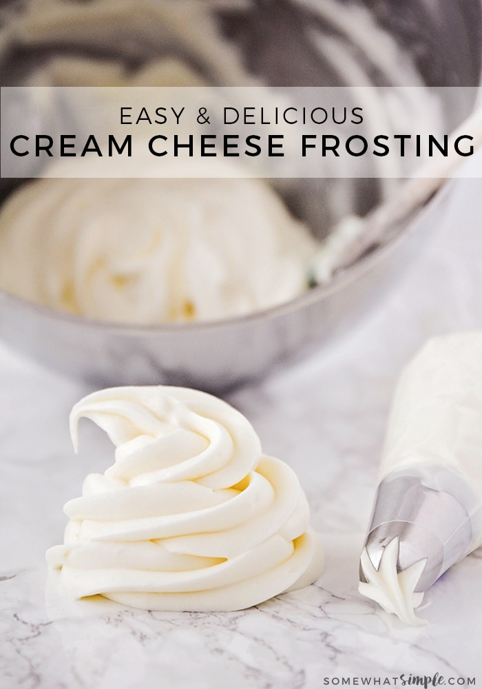 If heaven had a flavor, this would be it! This is the best cream cheese frosting recipe that is punch-you-in-the-face good! Add it to the top of your favorite cookies and cupcakes, or whip up a batch and dive in with a spoon! #easycreamcheesefrostingrecipe #howtomakecreamcheesefrosting #creamcheesefrostingforcupcakes #creamcheesefrostingforcakes #creamcheesefrostingrecipe via @somewhatsimple