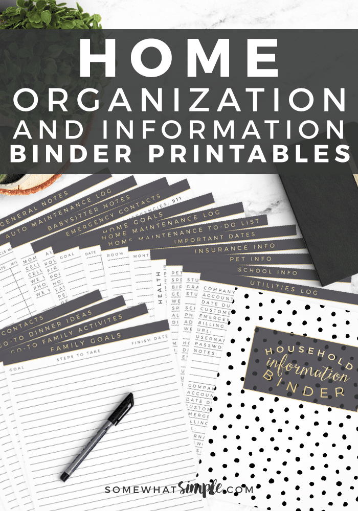 Our Home Management Binder is the perfect way to store your important family documents and keep valuable information all in one place! #home #organization #binder #emergency #printables via @somewhatsimple