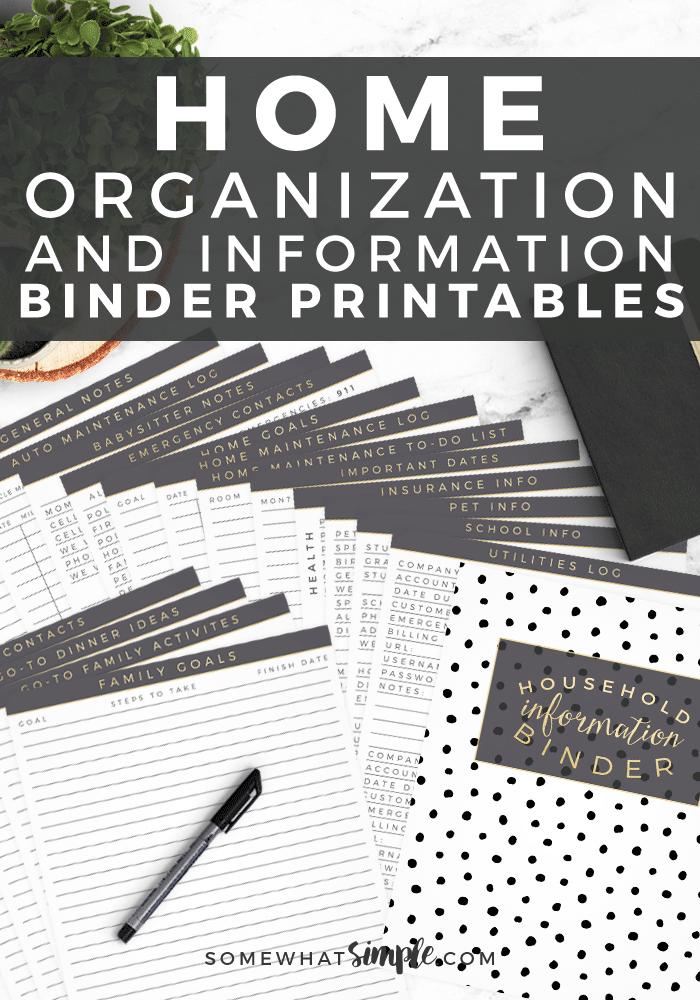 home organization informations binder printable pack