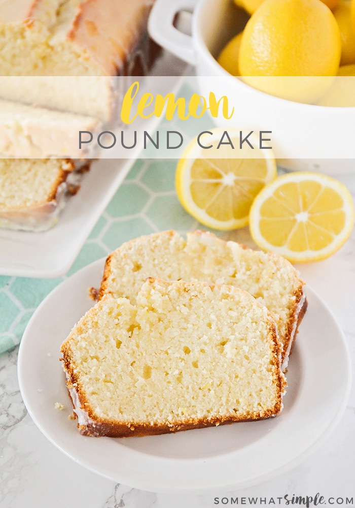 This delightfully sweet and tart lemon pound cake recipe is the perfect dessert for spring! It's easy to make and is bursting with fresh lemon flavor. This sweet lemon dessert will quickly become your favorite! #lemonpoundcake #lemonpoundcakerecipe #lemonpoundcakewithglaze #moistlemonpoundcakerecipe #easylemonpoundcake via @somewhatsimple