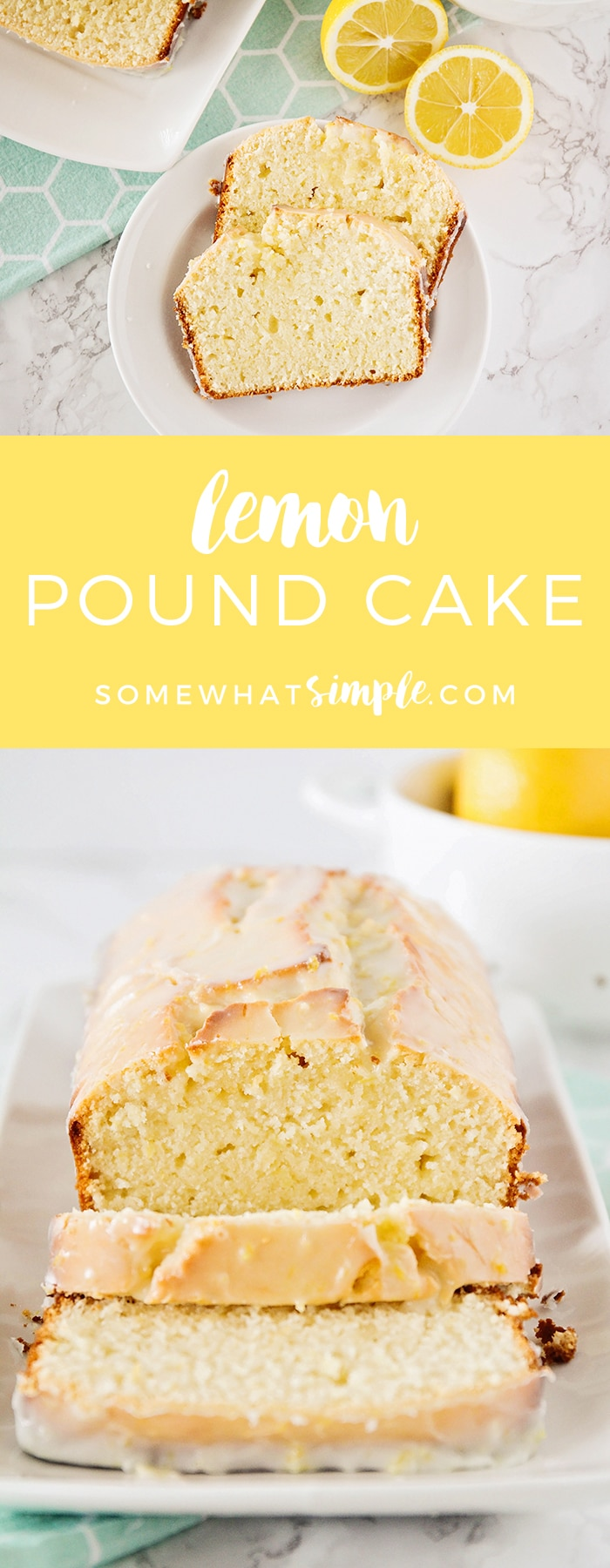 This delightfully sweet and tart lemon pound cake recipe is the perfect dessert for spring! It's bursting with fresh lemon flavor, and easy to make, too! #dessert #dessertrecipes #recipe #easyrecipe #bread #lemon  via @somewhatsimple