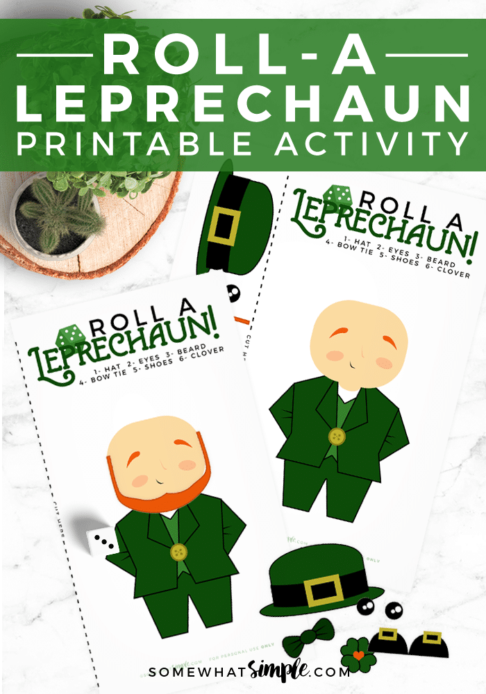 Get ready for a night of family fun with some simple Leprechaun Games! This Roll A Leprechaun Dice Activity can't get any easier to prepare and play. The game is perfect for both kids and adults! #stpatricksdaygame #easystpatricksdaygameforkids #printablestpatricksdaygame #leprechaundicegame #stpatricksgameforadults via @somewhatsimple