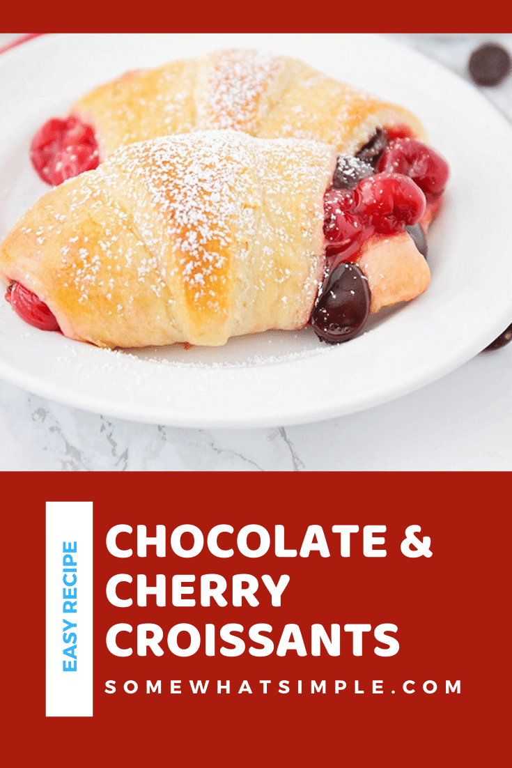 If you love the flavor combination of a rich chocolate cherry dessert, these delicious croissants will make your taste buds super happy! With just 3 ingredients, these dessert croissants are simple but incredibly delicious! These are the perfect dessert to serve after your delicious holiday dinner. via @somewhatsimple