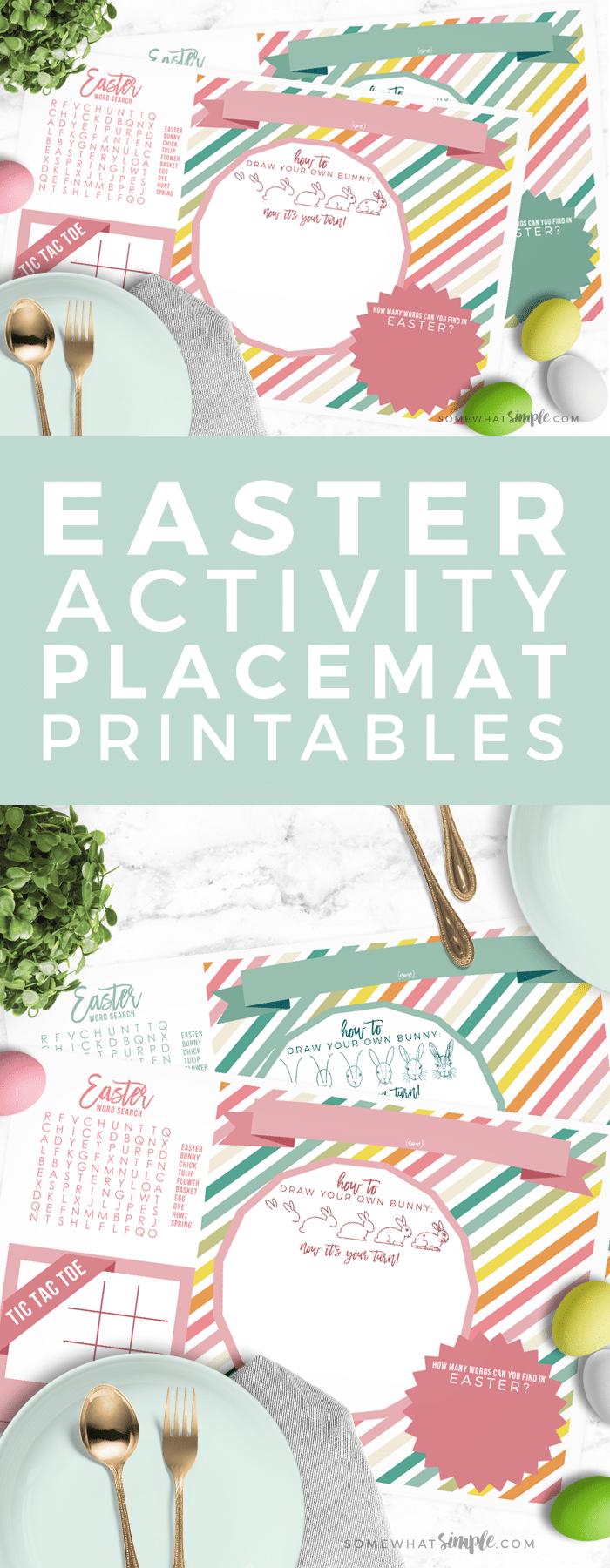 Add some fun to your Easter celebrations with this cute Easter placemat printable! via @somewhatsimple