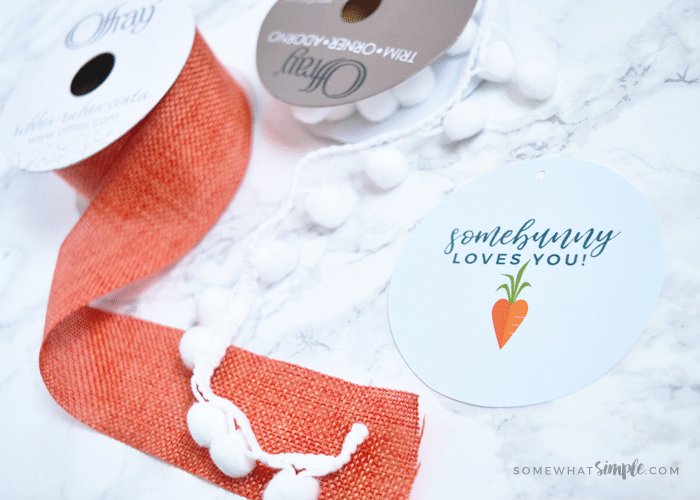 decorative ribbon and an Easter tag