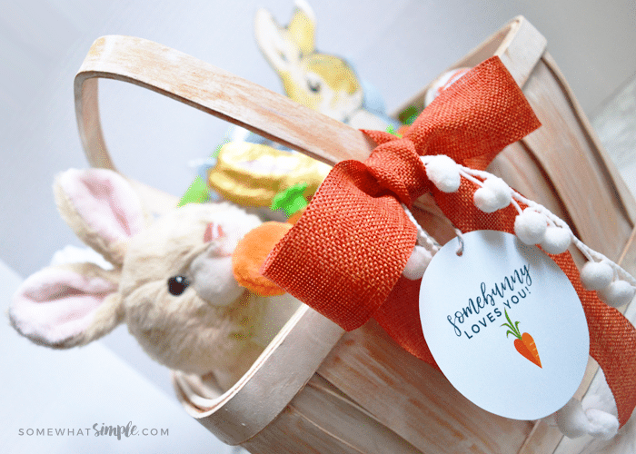 a basket filled with items for Easter