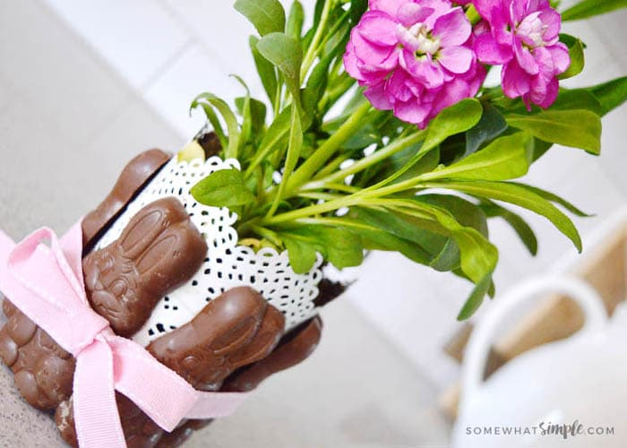 Chocolate Bunny + Easter Flowers: An Easy Easter Centerpiece