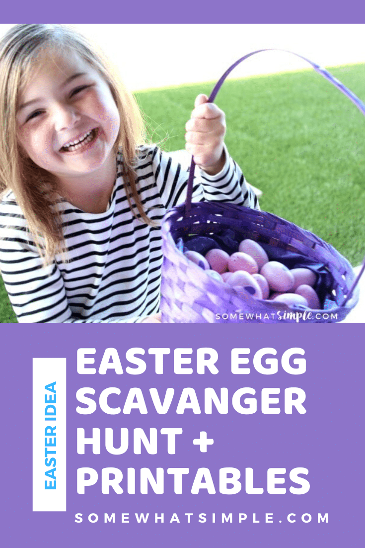 A fun twist on a classic Easter Egg Hunt, this Easter Scavenger Hunt is the perfect activity for kids of all ages! Download your copy of these FREE printables today and get started planning! #easteregghunt #easterprintable #eastereggscavengerhunt #easteregghuntidea #eastertreasurehunt #easterideaforkids via @somewhatsimple