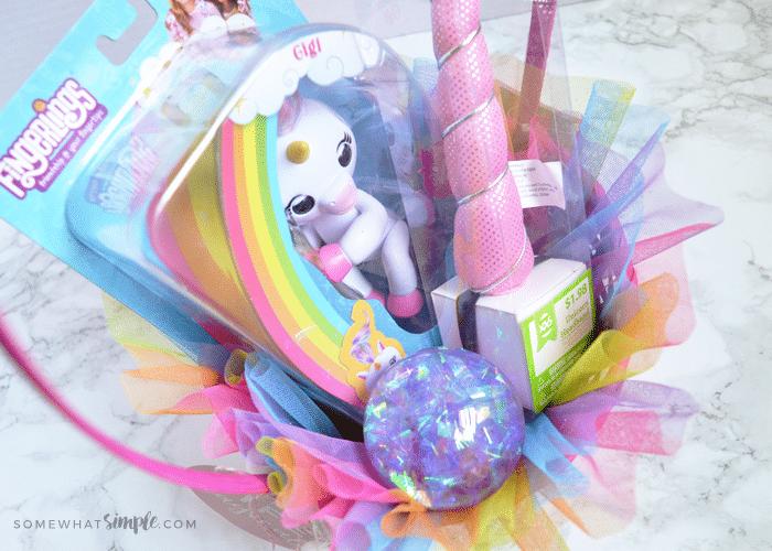 a rainbow themed Easter basket
