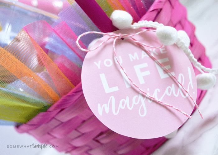 an Easter basket gift tag