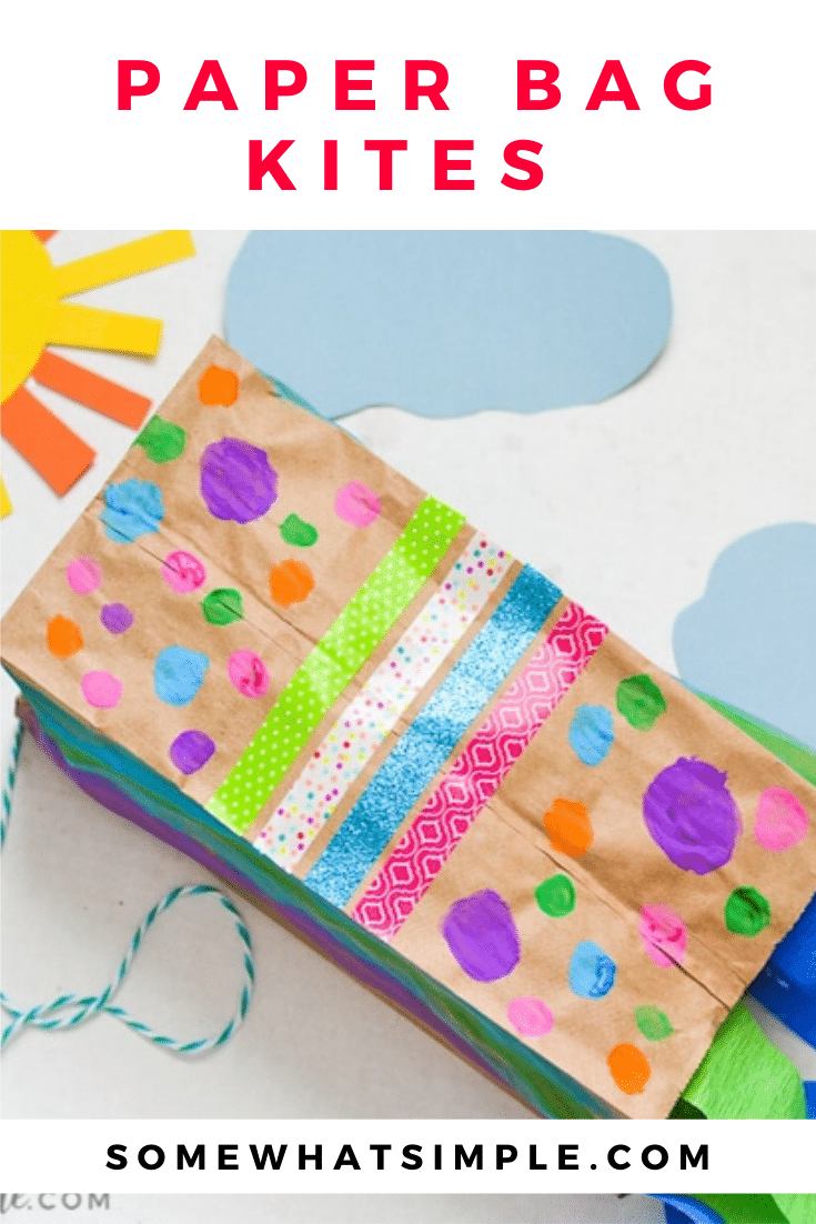 The kids will have so much fun decorating and making their very own paper bag kites - just in time for spring! Made with a brown paper bag and a few simple supplies, they're easy to put together and so much fun to make! #craftsforkids #paperbagkites #papercrafts #howtomakeapaperbagkite #kidscraft via @somewhatsimple
