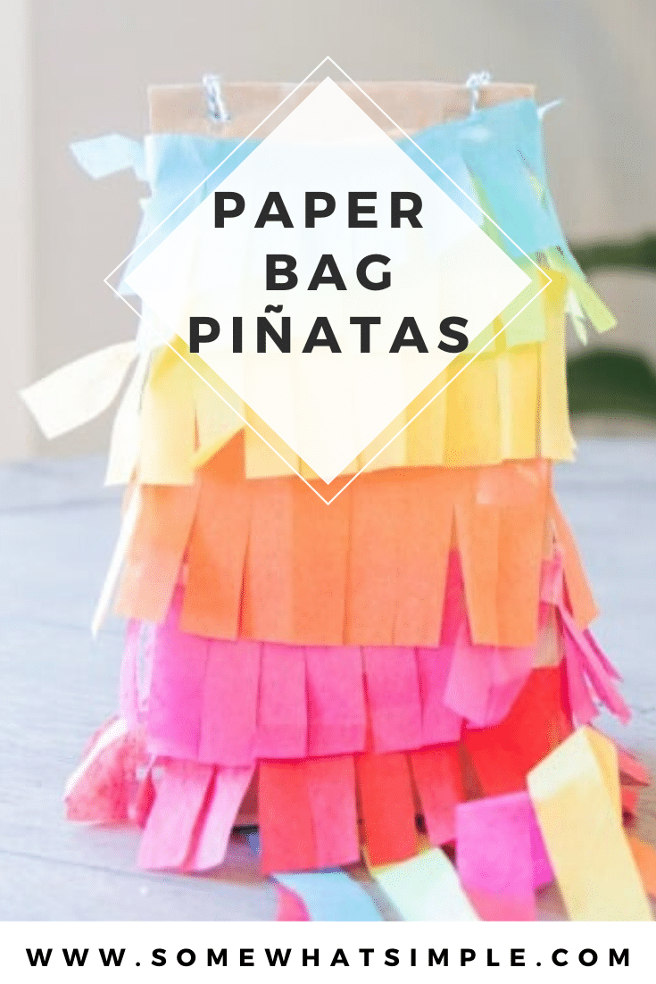 "Kick your party up a notch on the ""fun meter"" with these simple paper bag piñatas! Made with just a few simple supplies, these are so much fun to make and even more fun to break open! #kidscraft #paperbagpinatas #papgerbagpinatasforkids #cincodemayo #craft #fiesta #easycraft via @somewhatsimple"
