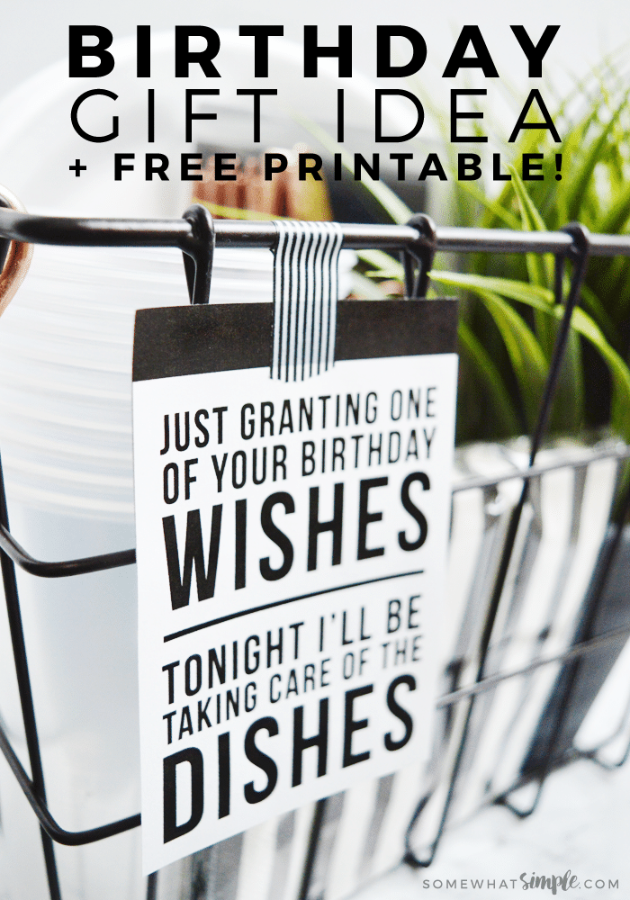 Any grown-up, adult woman will tell you that having a night off from dishes would be heavenly! So we came up with aBirthday Gift Idea that will grant their no dishes wishes! #bestfriendbirthdaygifts #BirthdayGiftIdeas #BirthdayGiftIdeasForHer #BirthdayGiftIdeasForMom #BirthdayGiftsForFriends #DIYBirthdayGifts #birthdaygift #birthdaygiftbaskets via @somewhatsimple