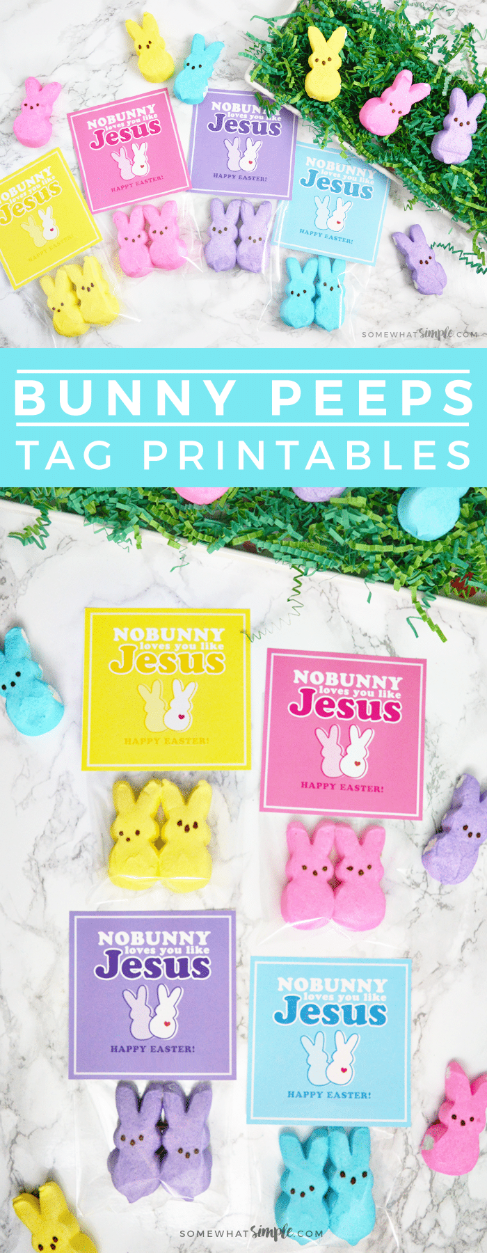 If you're looking for some darling, yet meaningful Easter gifts, then these Peeps Candy Tags are the perfect solution! Great for church handouts, Easter baskets, or even just little gifts to give friends or neighbors! via @somewhatsimple