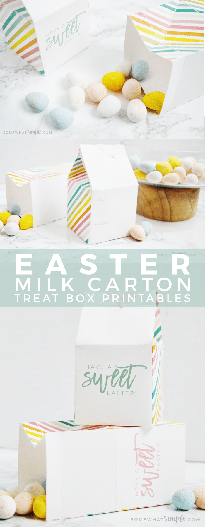 These darling Easter Milk Carton Treat Boxes are perfect for party favors, place settings, church handouts, etc! So simple to make, and a cute way to stay within your budget! via @somewhatsimple