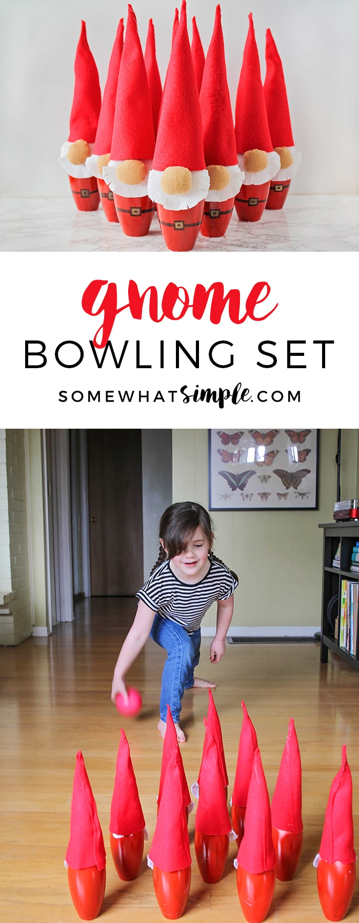 This adorable and fun gnome mini bowling set is so quick and easy to make, and it is the perfect kids bowling activity to do indoors!