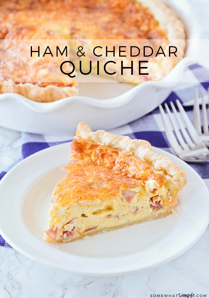 This simple to make ham and cheese quiche is so savory and loaded with flavor! It's an easy quiche recipe that is delicious, and filling, and perfect for breakfast or dinner! #quiche #breakfast #hamandcheesequiche #easyquicherecipe #quicherecipe #howtomakequiche via @somewhatsimple