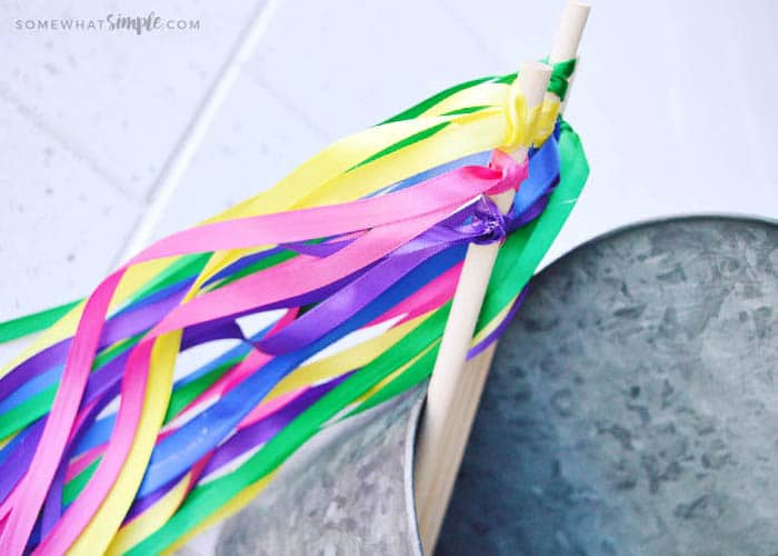 colorful and easy homemade ribbon wands