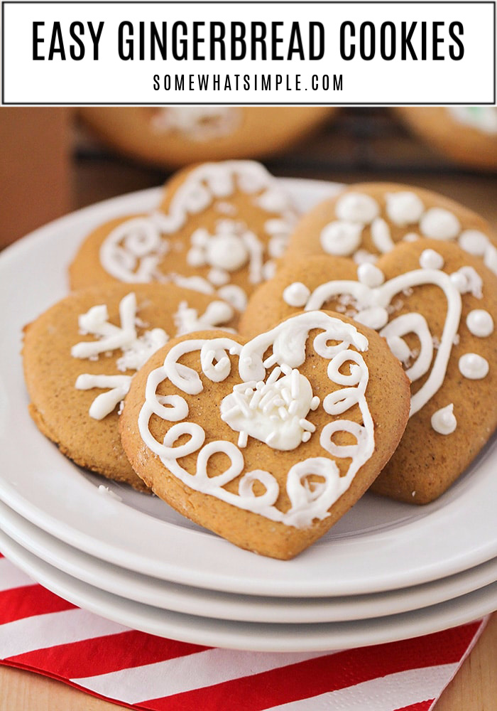 Spread some holiday cheer by making some easy gingerbread cookies. These homemade cookies are soft, simple to make, and perfect for gifting! #gingerbreadcookies #bestgingerbreadcookierecipe #softgingerbreadcookies #easygingerbreadcookierecipe #decoratedgingerbreadcookies via @somewhatsimple