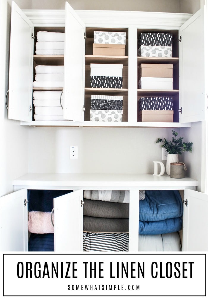 Grab $30 cash and set aside 2 hours of your time! Today we are organizing the linen closet and it is going to be AMAZING! #linenclosetorganization #linenclosetorganizationideas #smalllinenclosetorganization #linencloset #linenclosetideas via @somewhatsimple