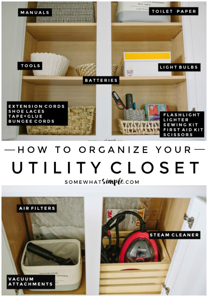 Batteries, light bulbs, flashlights and more - let's talk about how to organize your utility closet! #UtilityCloset #Organize #Organization #Clean #Junk #Closet #Cupboard via @somewhatsimple