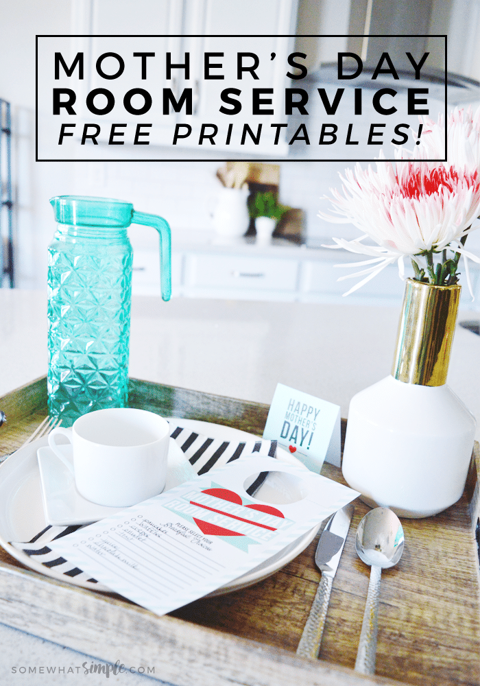 Start Mother's Day on the right foot with our free Bed in Bed printables! #mothersday #mothersdaygift #mothersdaybreakfastinbed #breakfastinbed #printable #doorhanger via @somewhatsimple