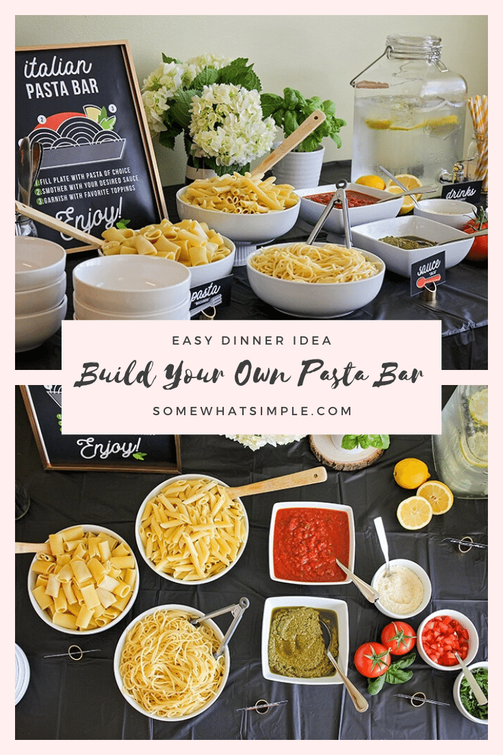 Host a fun and delicious dinner party at home with this easy Italian pasta bar! Mix and match pasta, sauce, and toppings to build the perfect bowl of pasta! This idea can easily feed a large crowd so it's perfect for dinner parties, weddings, family get togethers or any other time you need to feed a large group. #pastabaridea #pastabardinnerparty #pastabarbuffet #pastabarweddingidea #pastabarforacrowd via @somewhatsimple