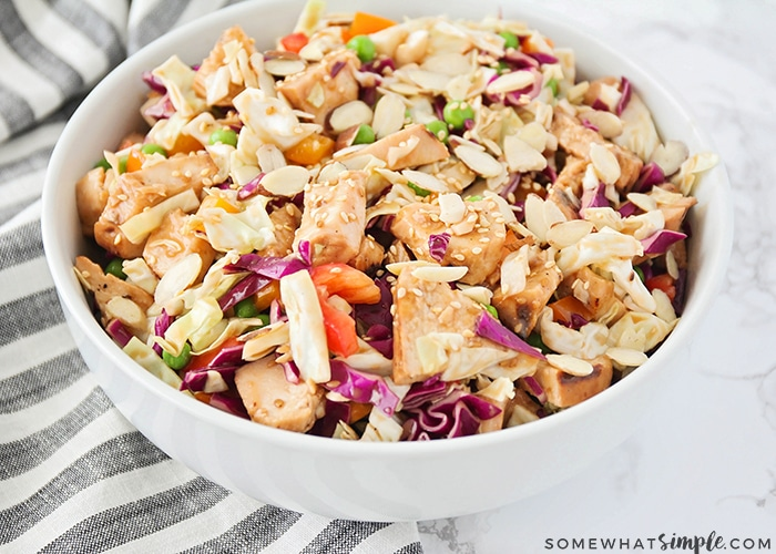 This healthy and delicious asian chicken salad is loaded with fresh veggies and tender chicken. It's an easy meal that's perfect for summertime!